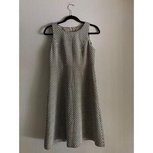 LOFT B&W Fit and Flare Midi Dress